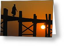 Sunset Over The U Bein Foot Bridge Greeting Card