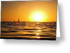Sunset Over The Water In Waikiki Greeting Card