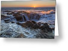 Sunset Over Thor's Well Along Oregon Coast Greeting Card