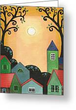 Sunset Over Town Greeting Card