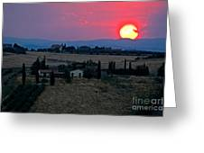 Sunset Over Tuscany In Italy Greeting Card