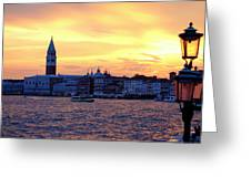Sunset Over Venice Greeting Card