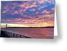 Sunset Over Verrazano Bridge And Narrows Waterway Greeting Card
