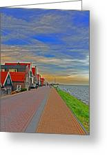 Sunset Over Volendam Greeting Card