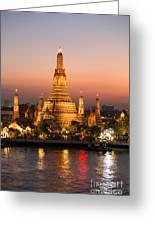 Sunset Over Wat Arun Temple - Bangkok Greeting Card
