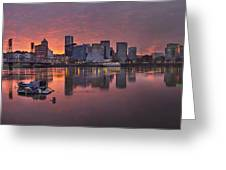 Sunset Over Willamette River Along Portland Waterfront Greeting Card