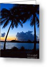 Sunset Overlooking Jupiter Lighthouse Greeting Card