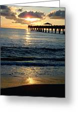 Sunset Pier Greeting Card by Carey Chen