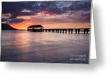 Sunset Pier Greeting Card by Mike  Dawson