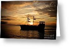 Sunset Pirate Cruise Greeting Card