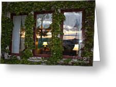 Sunset Reflection On Empress Window Greeting Card