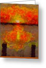 Sunset Reflections On The Dock Greeting Card