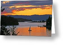 Sunset Sail In The Bay Greeting Card