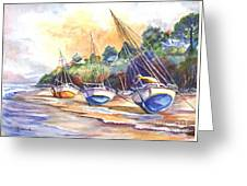 Sunset Sail On Brittany Beach  Greeting Card
