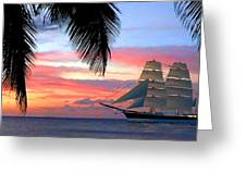 Sunset Sailboat Filtered Greeting Card