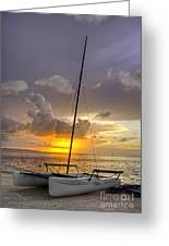 Sunset Sailboat Vertical Greeting Card