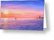 Sailing Toward The Lighthouse Greeting Card