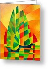 Sunset Sails And Shadows Greeting Card