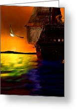 Sunset Sails Greeting Card by Lourry Legarde