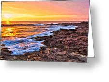 Sunset Shore Break Greeting Card