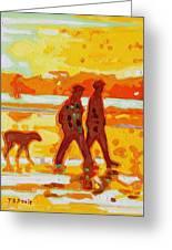 Sunset Silhouette Carmel Beach With Dog Greeting Card