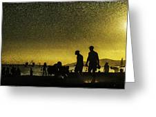 Sunset Silhouette Of People At The Beach Greeting Card