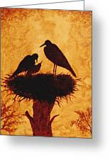 Sunset Stork Family Silhouettes Greeting Card