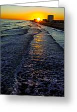 Sunset Surf Greeting Card by Perry Webster
