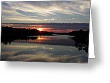Sunset Up The Sebec Greeting Card