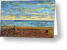 Sunset Volleyball At Old Silver Beach Greeting Card