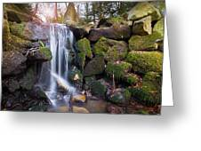 Sunset Waterfalls In Marlay Park Greeting Card