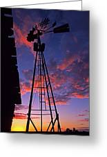 Sunset Windmill Greeting Card