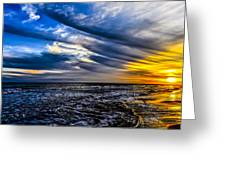 Sunset With Blue Sky Greeting Card