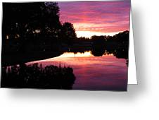 Sunset With Reflection Greeting Card