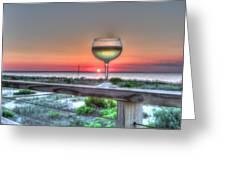 Sunset With Wine Glass Greeting Card