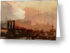 Sunsrise Over Brooklyn Bridge Greeting Card