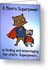 Super Mom And Daughter Greeting Card by Pet Serrano