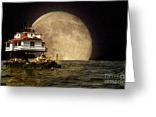 Super Moon Lighthouse Greeting Card