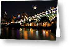 Super Moon Over Cleveland Greeting Card