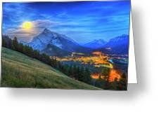 Super Moonrise Over Banff Greeting Card