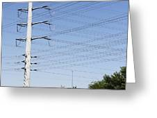 Super Power Pole And Wires Greeting Card