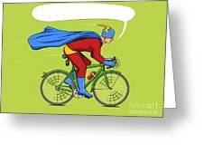Superhero On A Bicycle Cartoon Pop Art Greeting Card