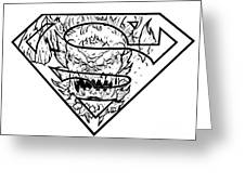Superman And Doomsday Pen And Ink Greeting Card