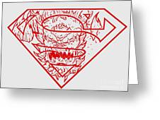 Superman And Doomsday Red Greeting Card