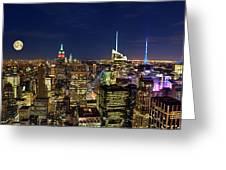Supermoon Over Manhattan Greeting Card