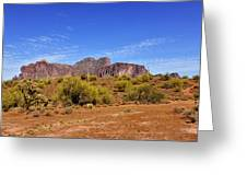 Superstition Mountains Arizona - Flat Iron Peak Greeting Card by Christine Till