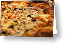 Supreme Meat Works Pizza  Sliced And Ready To Eat Greeting Card