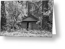 Sureal Gothic Infrared Woodlands Haunting Spooky Eerie Old Building With Black Ravens Greeting Card