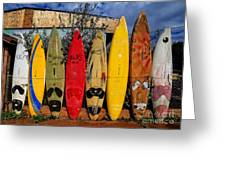 Surf Board Fence Maui Hawaii Greeting Card