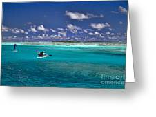 Surf Board Paddling In Moorea Greeting Card by David Smith